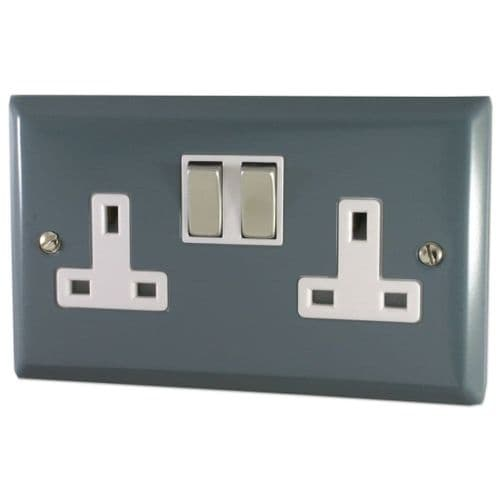 G&H SDG210 Spectrum Plate Dark Grey 2 Gang Double 13A Switched Plug Socket